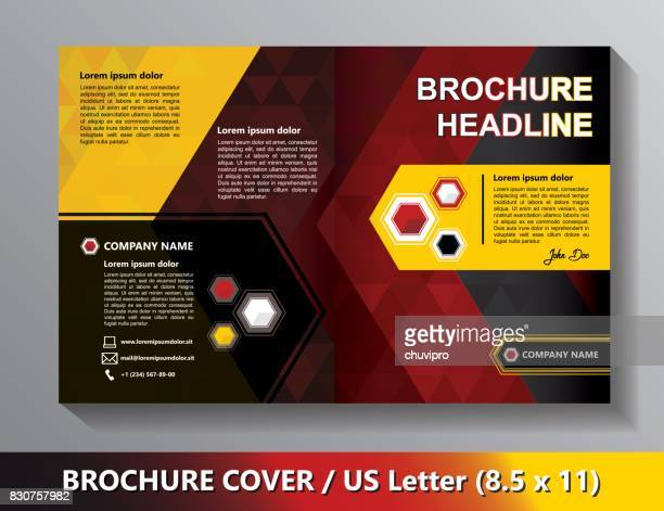Brochure Cover Template. Abstract Triangles - Black, Red, Yellow