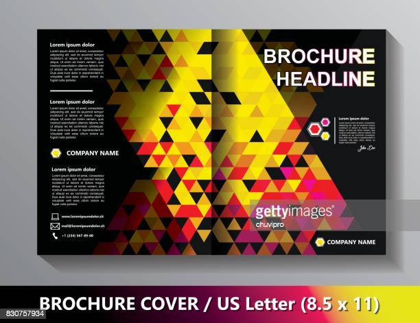 Brochure Cover Template. Abstract Triangles - Black, Yellow, Pink, Red