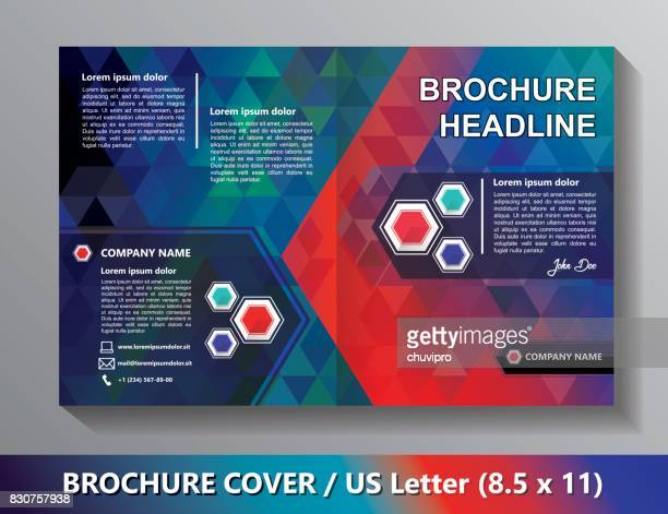 Brochure Cover Template. Abstract Triangles - Green, Red, Blue