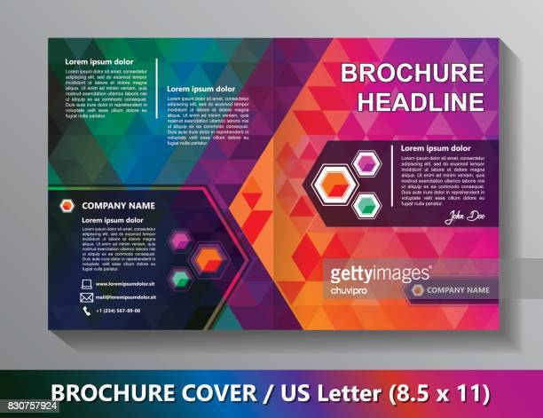 Brochure Cover Template. Abstract Triangles - Green, Red, Orange, Lilac, Blue