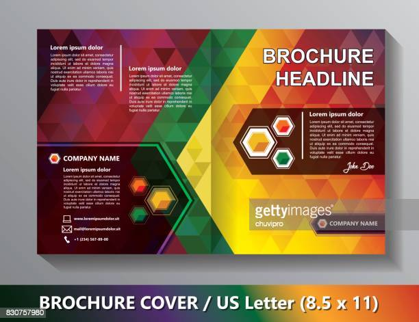 Brochure Cover Template. Abstract Triangles - Green, Red, Orange, Yellow, Lilac