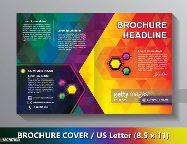 Brochure Cover Template. Abstract Triangles - Green, Red, Yellow, Lilac, Blue