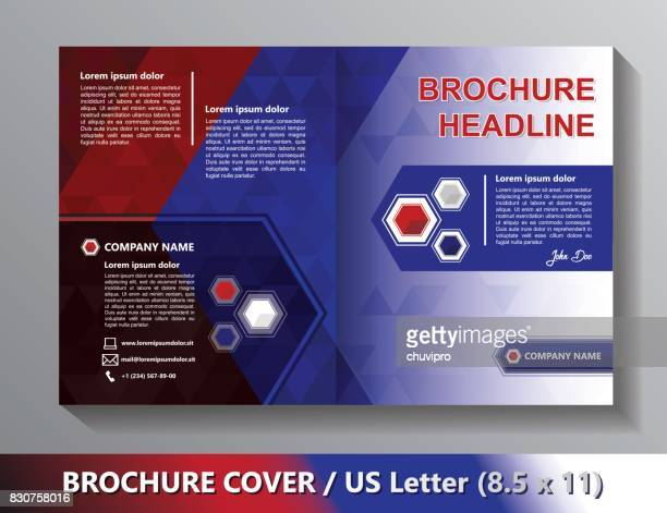Brochure Cover Template. Abstract Triangles - White, Blue, Red