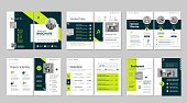 Brochure creative design. Multipurpose template, include cover, back and inside pages. Trendy minimalist flat geometric design.