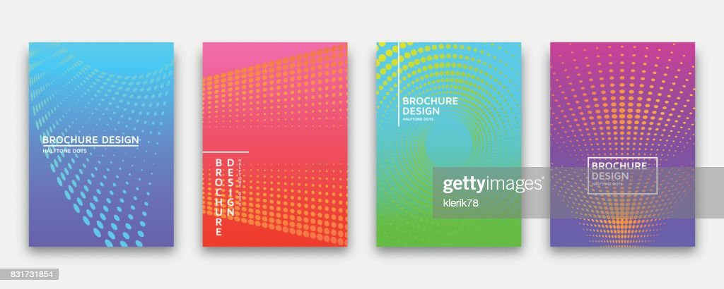 Brochure design with halftone dots and neon gradients