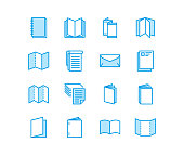 Brochure flat line icons. Business identity vector illustrations - letterhead, booklet, flyer, leaflet, corporate catalogue, envelope. Thin signs for print shop. Pixel perfect 64x64