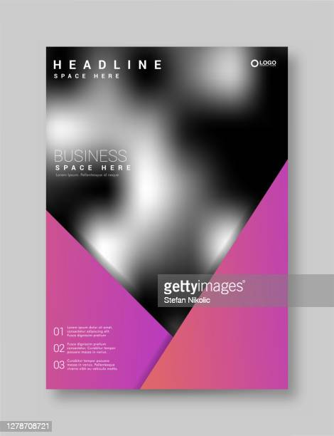 brochure flyer template layout background design. booklet, leaflet, corporate business annual report layout with purple triangle on a white background - publisher stock illustrations