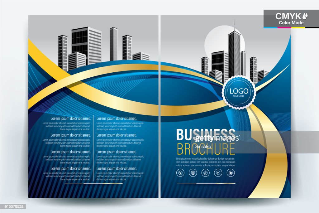 Brochure Flyer Template Layout Background Design. booklet, leaflet, corporate business annual report layout with gold ribbon on a blue background template a4 size - Vector illustration.