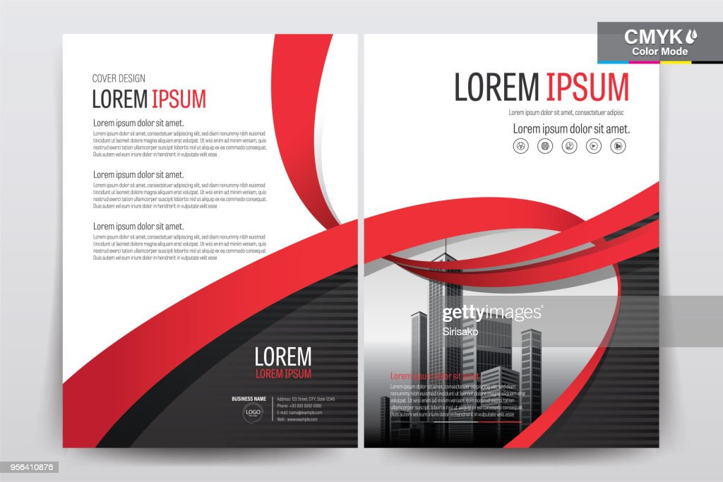 Brochure Flyer Template Layout Background Design. booklet, leaflet, corporate business annual report layout with white, gray and red ribbon background template a4 size - Vector illustration.