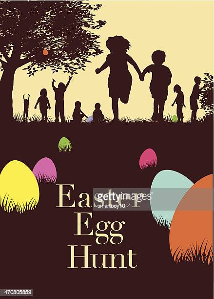 Brochure for an Easter egg hunt with accented color on eggs