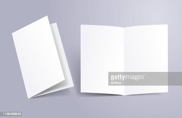brochure open and close - blank stock illustrations