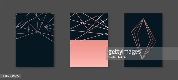 brochure or vip packaging design set, luxury wrap paper template or background in trendy geometric style, gold rose metal, frame, vector fashion wallpaper, poster, gift box stock illustration - rose colored stock illustrations