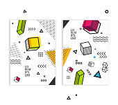 Brochure set in a4 format. Pop art geometric background with colorful graphic elements. Design Background with 3d elements. Vector eps 10