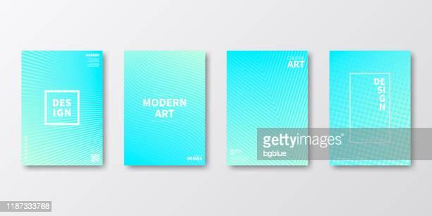 パンフレットテンプレートレイアウト、ブルーカバーデザイン、ビジネス年次報告書、チラシ、雑誌 - ターコイズカラーの背景点のイラスト素材/クリップアート素材/マンガ素材/アイコン素材