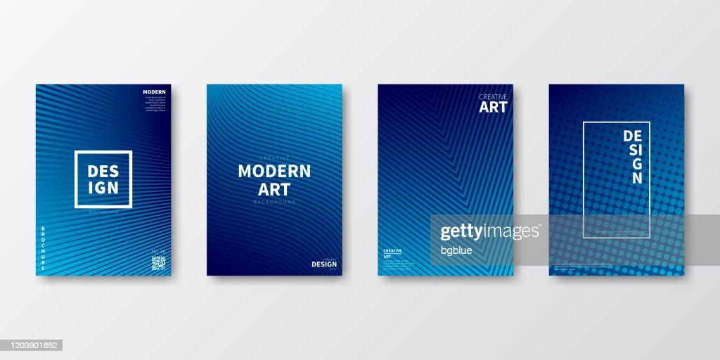 Layout modello brochure, design copertina blu, rapporto annuale aziendale, volantino, rivista : Illustrazione stock