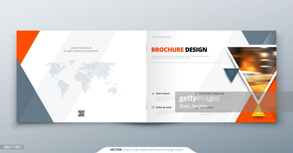 Brochure template layout, cover design annual report, magazine, flyer or booklet in A4 with orange triangle geometric shapes. Vector Illustration.