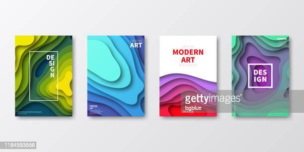 illustrations, cliparts, dessins animés et icônes de mise en page du modèle de brochure, conception de couverture, rapport annuel d'affaires, dépliant, magazine - origami