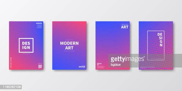 brochure template layout, purple cover design, business annual report, flyer, magazine - pink and blue background stock illustrations