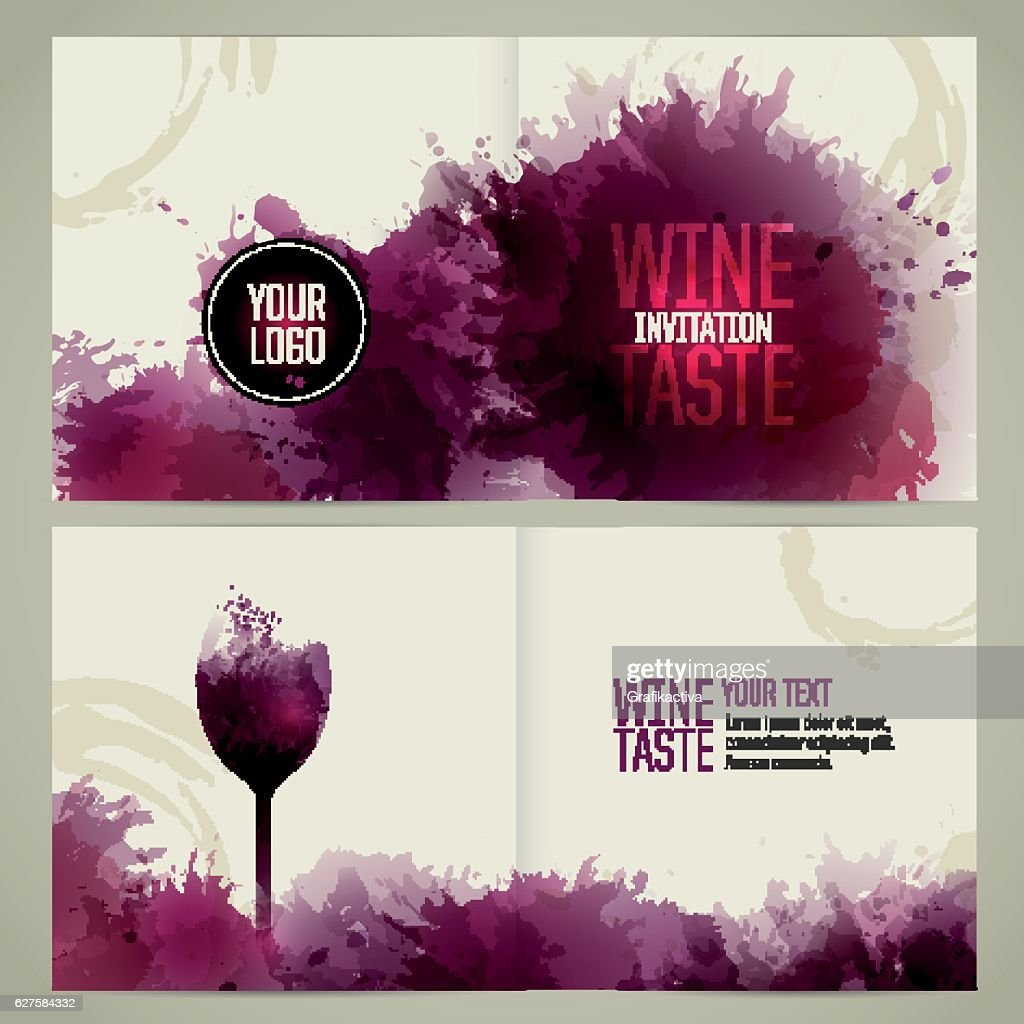 Brochure template with glass and wine stains