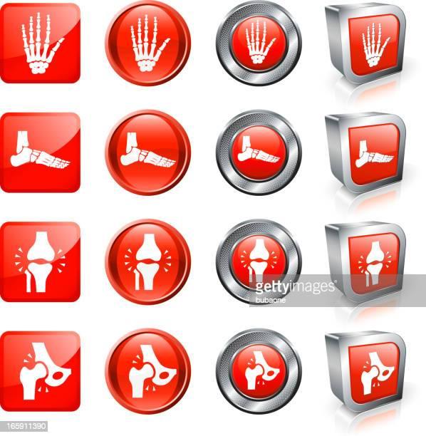 ilustrações, clipart, desenhos animados e ícones de quebrado e osso fractures dor conjunto botão de vetor royalty free - articulação humana