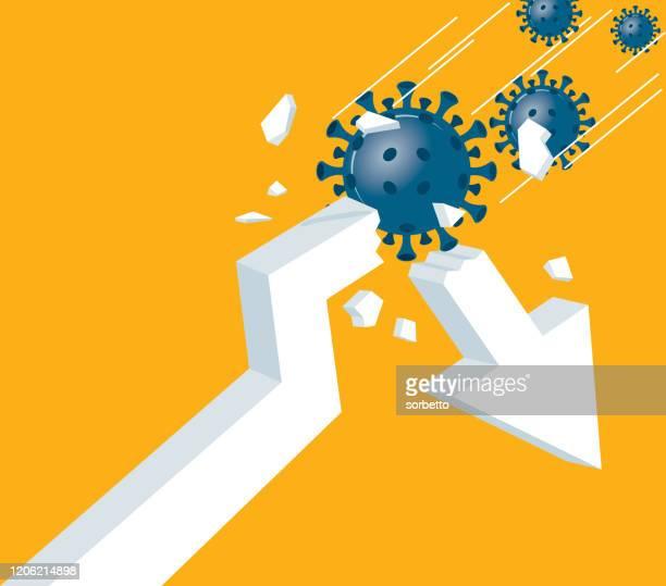 broken arrow - viruses - stock market crash stock illustrations