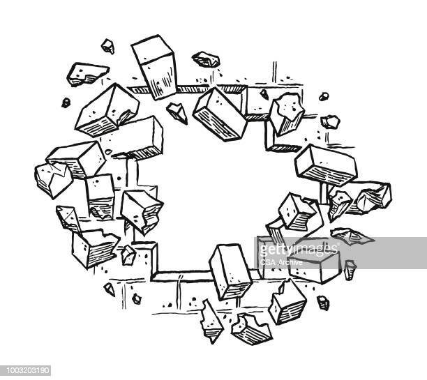 broken bricks - brick stock illustrations