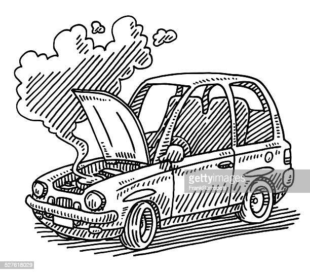 broken car open hood drawing - vehicle hood stock illustrations, clip art, cartoons, & icons