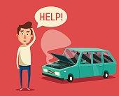 Broken car. Vector cartoon illustration. Need help