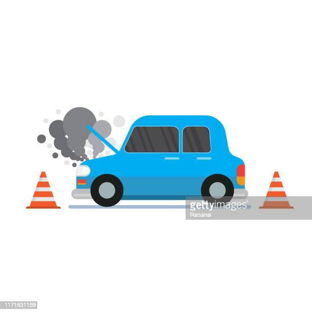 broken car - graphic car accidents stock illustrations