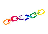 Broken colorful chain. Vector illustration