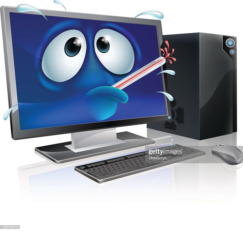 Broken computer virus cartoon