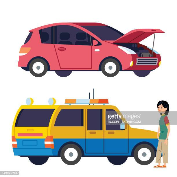 broken down auto and rescue service - compact car stock illustrations, clip art, cartoons, & icons