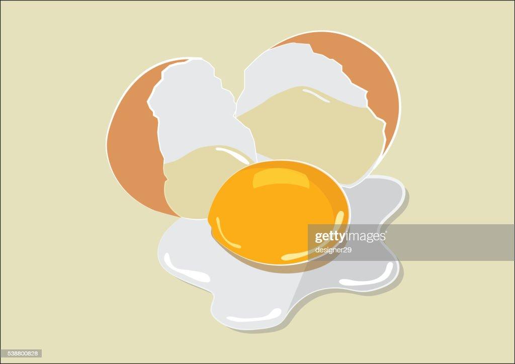 Broken Egg Flat Design