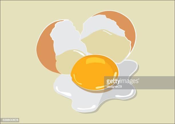ilustraciones, imágenes clip art, dibujos animados e iconos de stock de huevo roto diseño plano - huevo comida básica