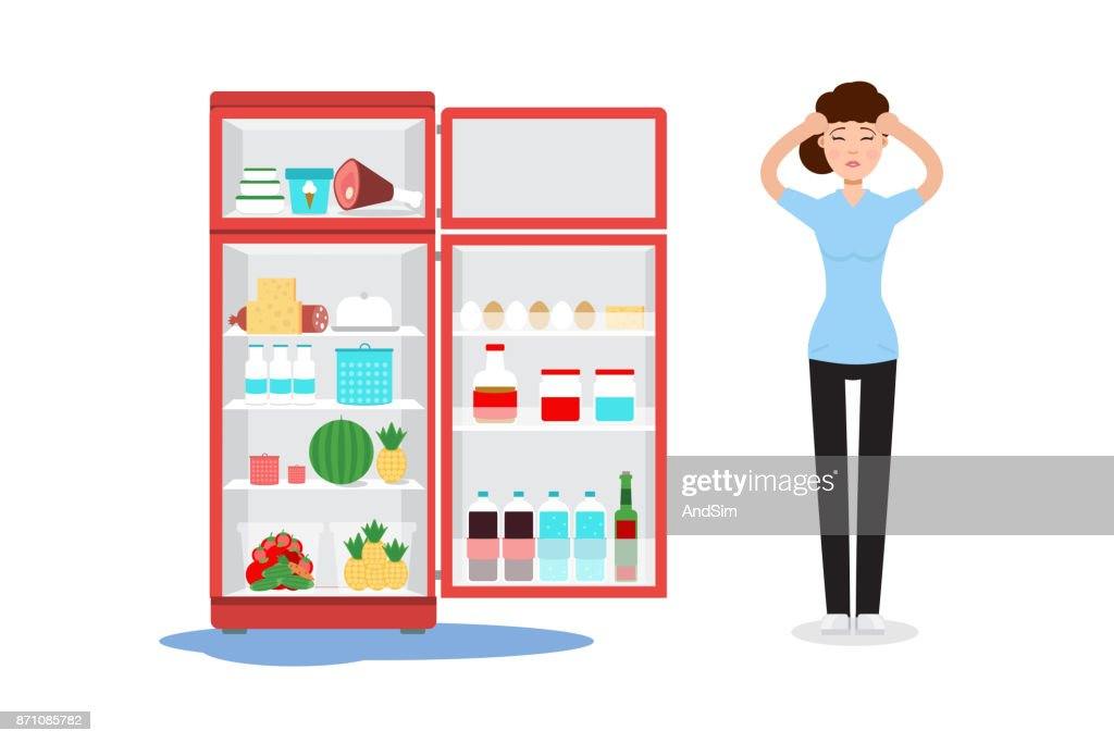 Broken fridge and sad woman with ther. Vector illustration.