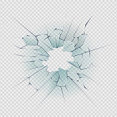 Broken glass. Cracked window texture realistic destruction hole in transparent damaged glass. Realistic shattered glass template