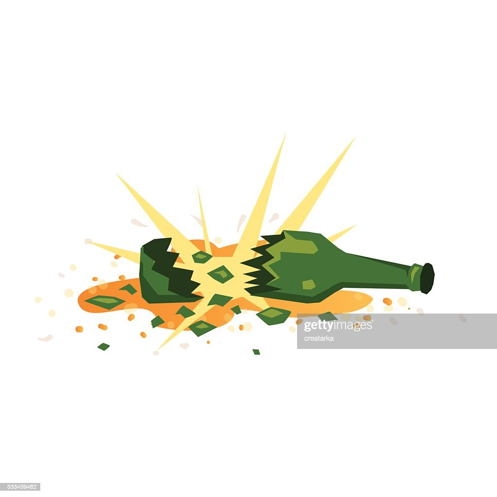 Broken green bottle of beer