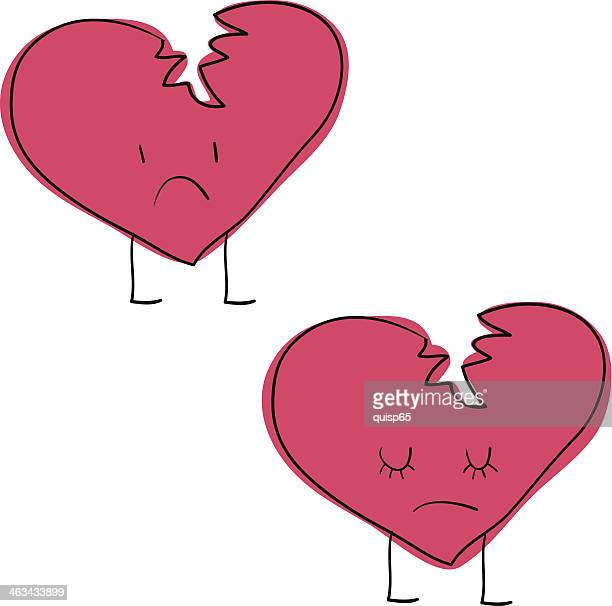 broken heart character doodles - broken heart stock illustrations