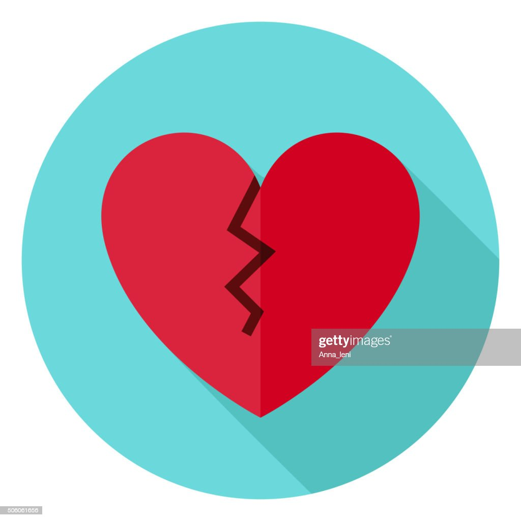 Broken Heart Circle Icon with long Shadow