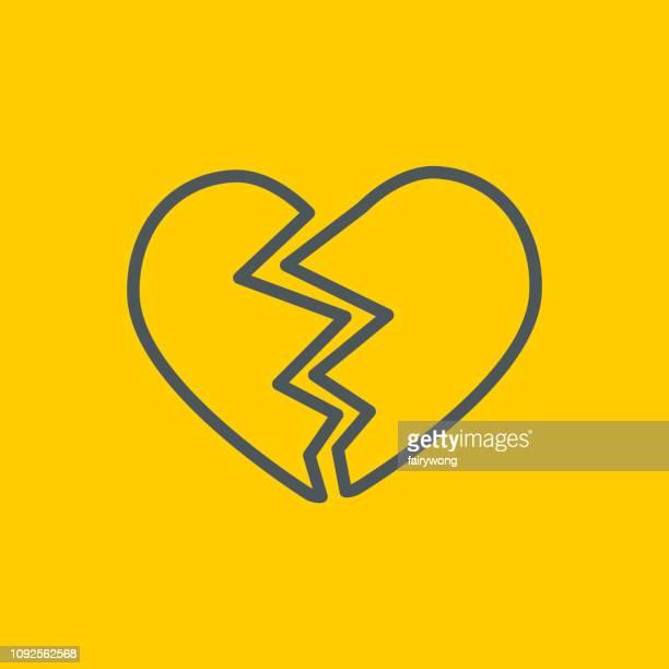 broken heart icon - broken heart stock illustrations
