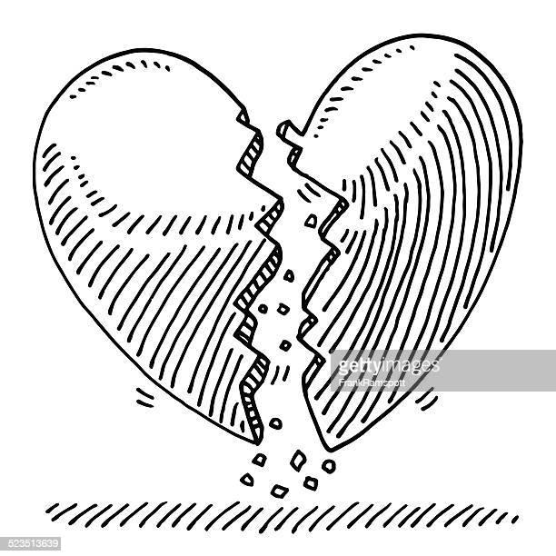 broken heart lovesickness drawing - frankramspott stock illustrations