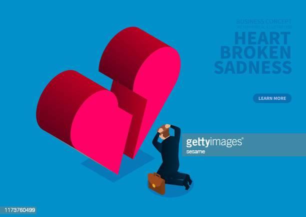 失恋、悲しい絶望的なビジネスマン、地面にしゃがむビジネスマン - 失敗点のイラスト素材/クリップアート素材/マンガ素材/アイコン素材