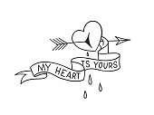 Broken heart with arrow through it and blood drops. Old school tattoo design aboul love. Vector illustration