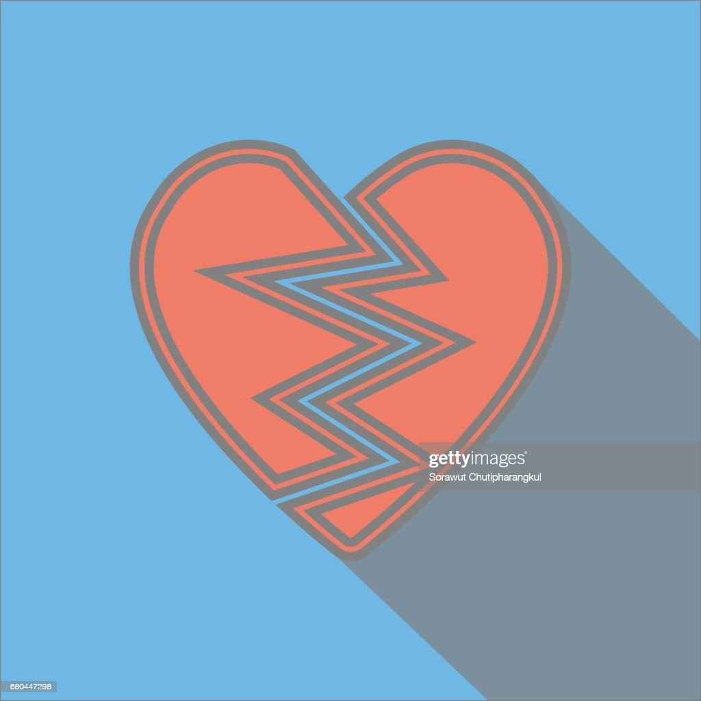 Broken Heart With Long Shadow Flat Icon Vector Art Getty Images