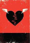 Broken heart with wings