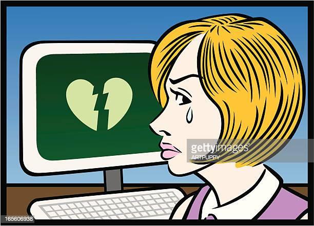 musik für gebrochene herzen am computer - work romance stock-grafiken, -clipart, -cartoons und -symbole