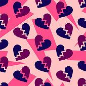 Broken hearts pattern. Thunder bolts on pink background. Divorce break split.