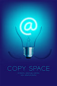 Broken Incandescent light bulb switch on set At sign, Email concept design illustration isolated glow in blue gradient background