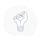 Broken lamp, lightbulb Not working or burnt out idea - Vector Illustration