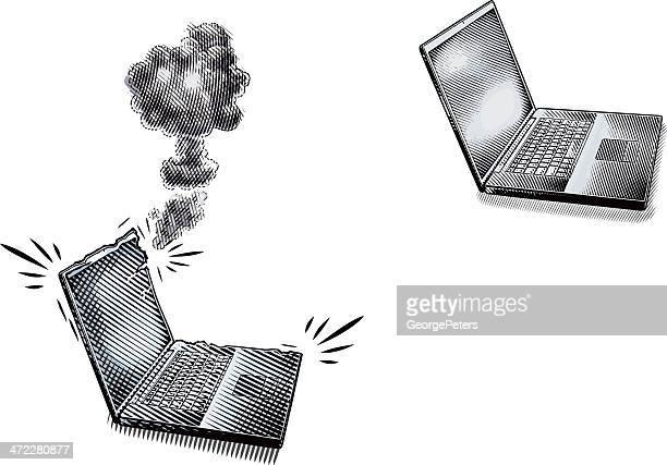 ilustrações, clipart, desenhos animados e ícones de broken computador portátil antes e depois - gravura